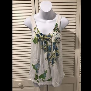 Express Women's White Sleeveless Floral Pleated